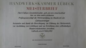 Fabian-Gerdellebracht-Meisterbrief - Gebäudereinigung Gerdellebracht
