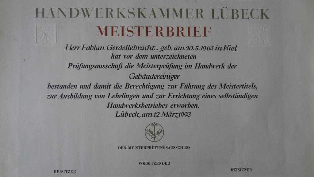 Gebäudereinigung Kiel Gerdellebracht GmbH & Co KG | Meisterbrief