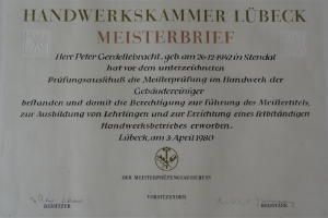 Peter Gerdellebracht-Meisterbrief - Gebäudereinigung Gerdellebracht