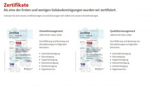 Zertifikate Gebäudereinigung Gerdellebracht - Umweltmanagement, Qualitäts Management