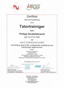 Tatortreiniger Zertifikat - Gebäudereinigung Gerdellebracht